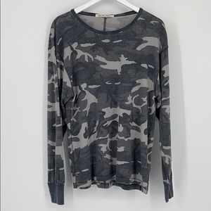 NWT FREE PEOPLE Arielle Camo-grey Long Sleeve Top
